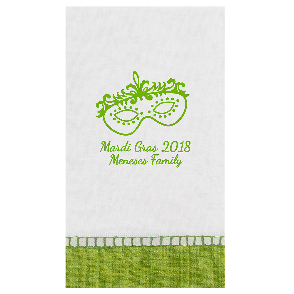 Personalized Mardi Gras Bordered Guest Towels Image #1