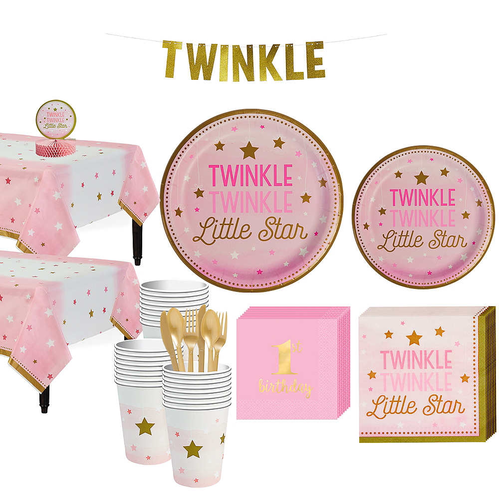 Pink Twinkle Twinkle 32ct Tableware Kit Image #1