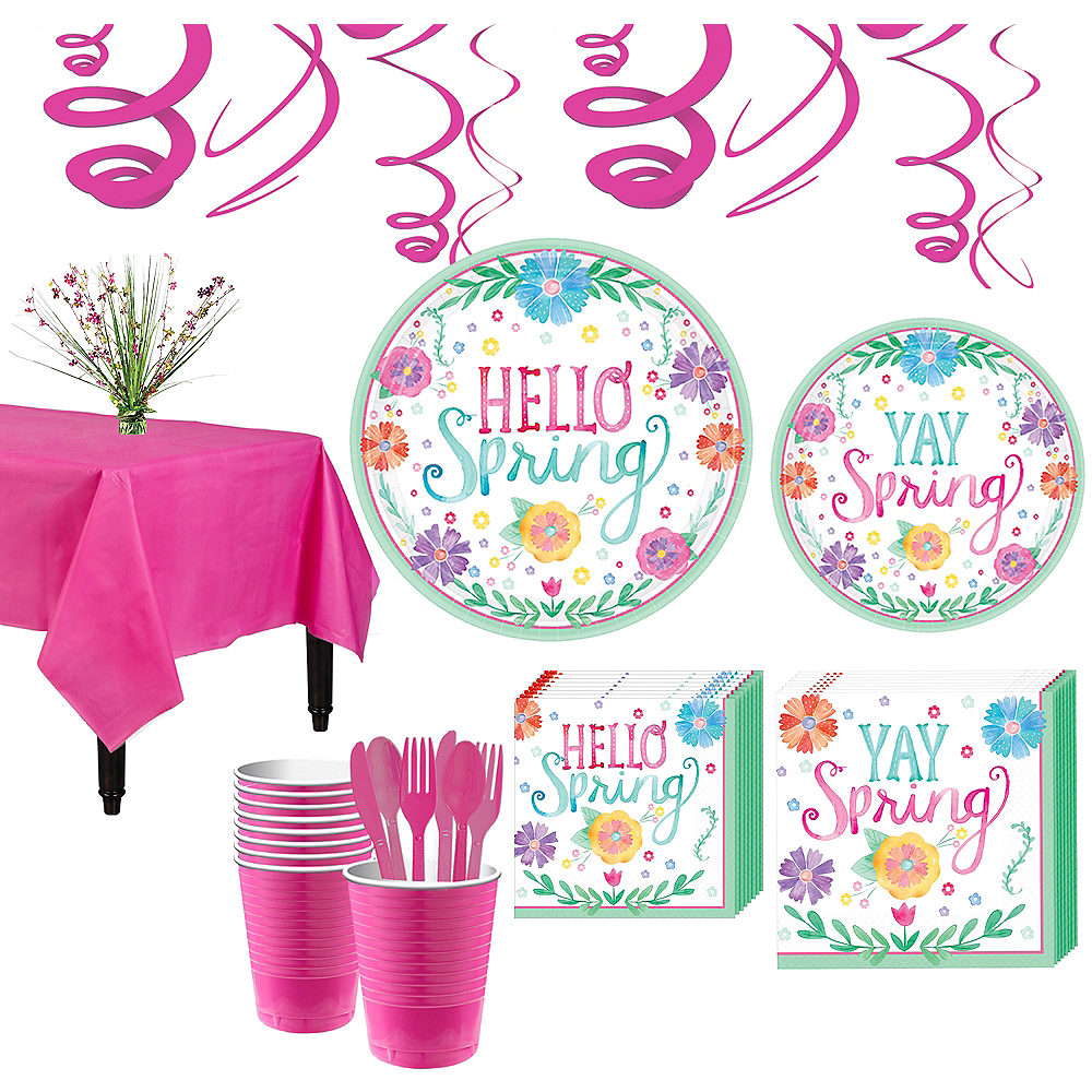 Watercolor Spring Tableware Kit for 18 Guests Image #1