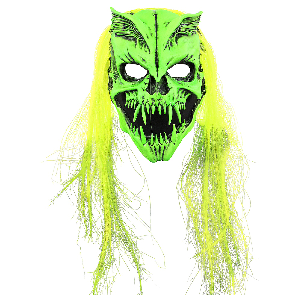 Nav Item for Adult Black Light Skull Monster Face Mask Image #1