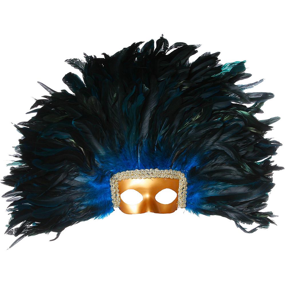 Black & Blue Feather Mask Image #1