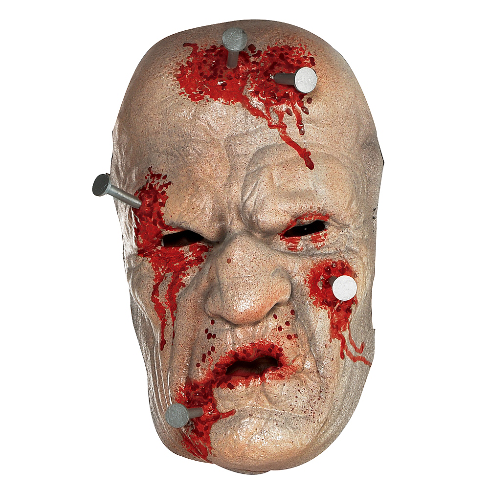 Adult Nails in the Head Zombie Mask Image #1
