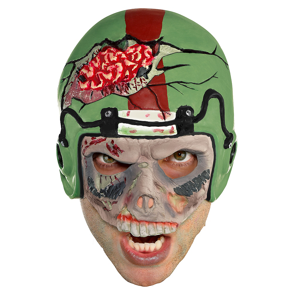 Adult Zombie Football Player Mask Image #1