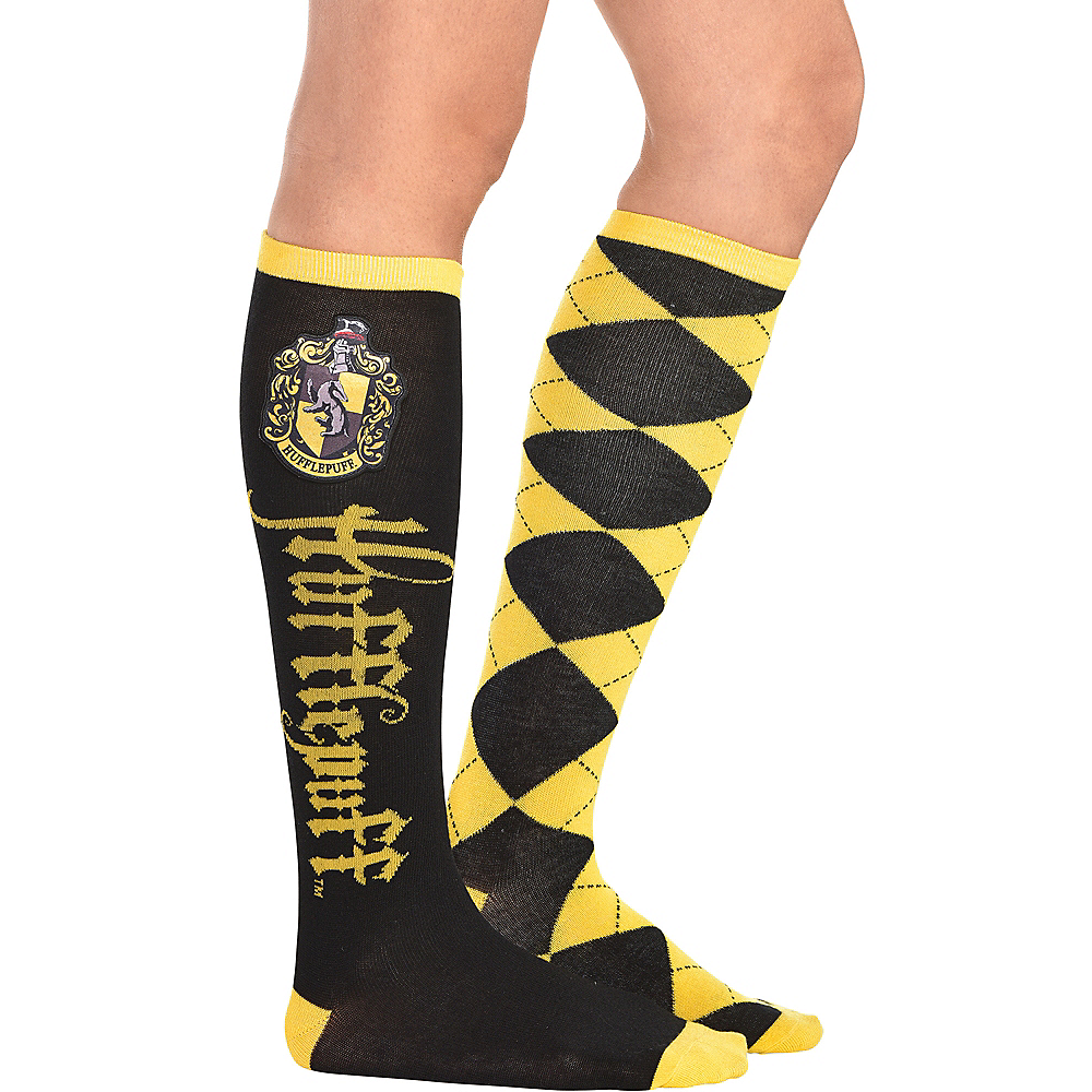 Adult Mismatched Hufflepuff Knee-High Socks - Harry Potter Image #1