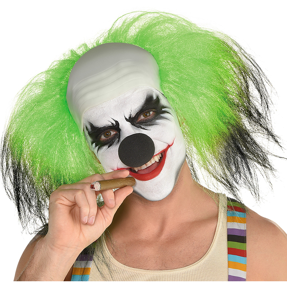 Black & Green Clown Wig Image #1