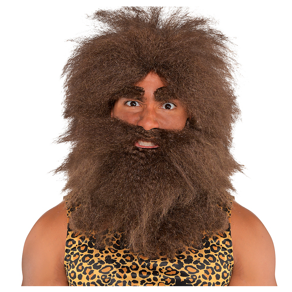Men's Caveman Wig & Beard Set Brown Crimped Hair DELUXE ... |Caveman Costume Hair