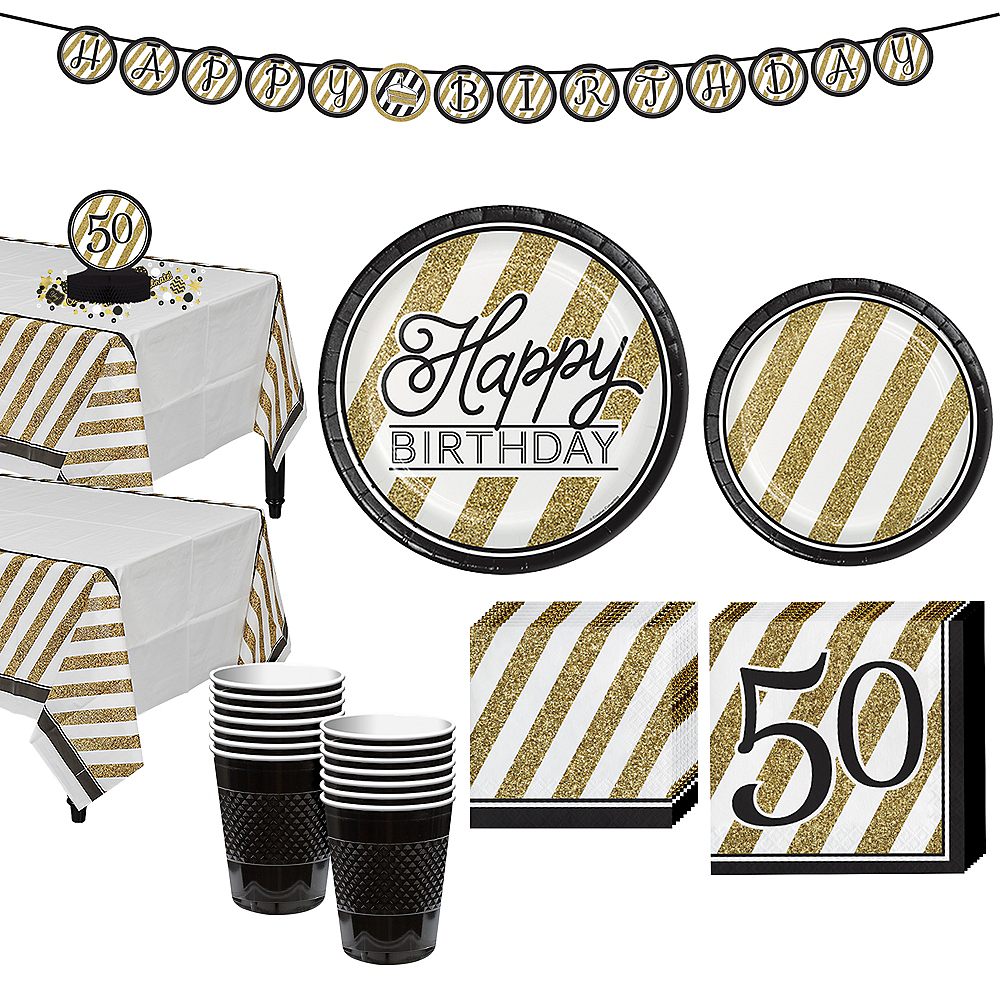 Nav Item For White Gold Striped 50th Birthday Party Kit 16 Guests Image