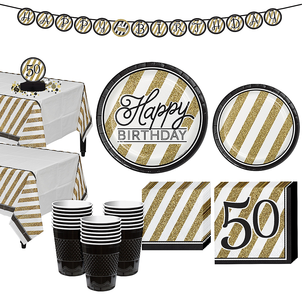 White & Gold Striped 50th Birthday Party Kit for 32 Guests Image #1