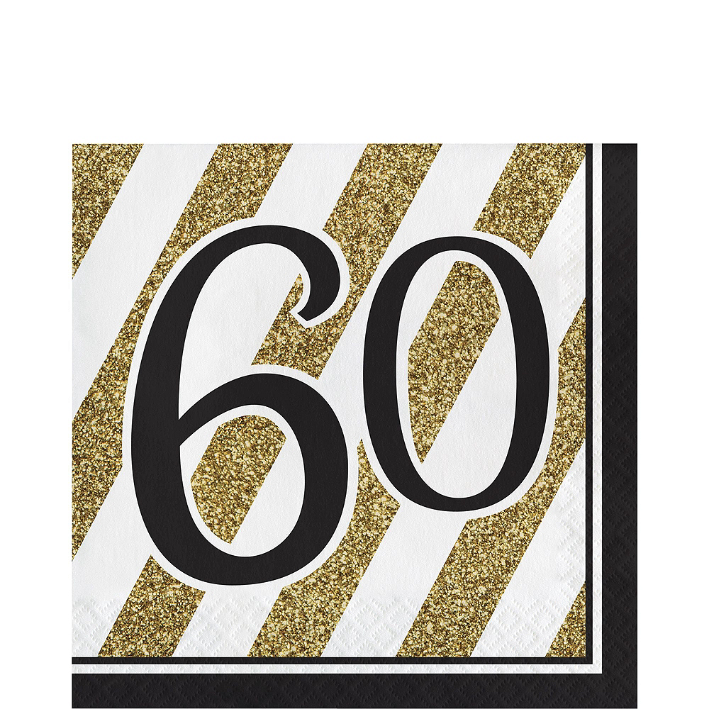White & Gold Striped 60th Birthday Party Kit for 16 Guests Image #5