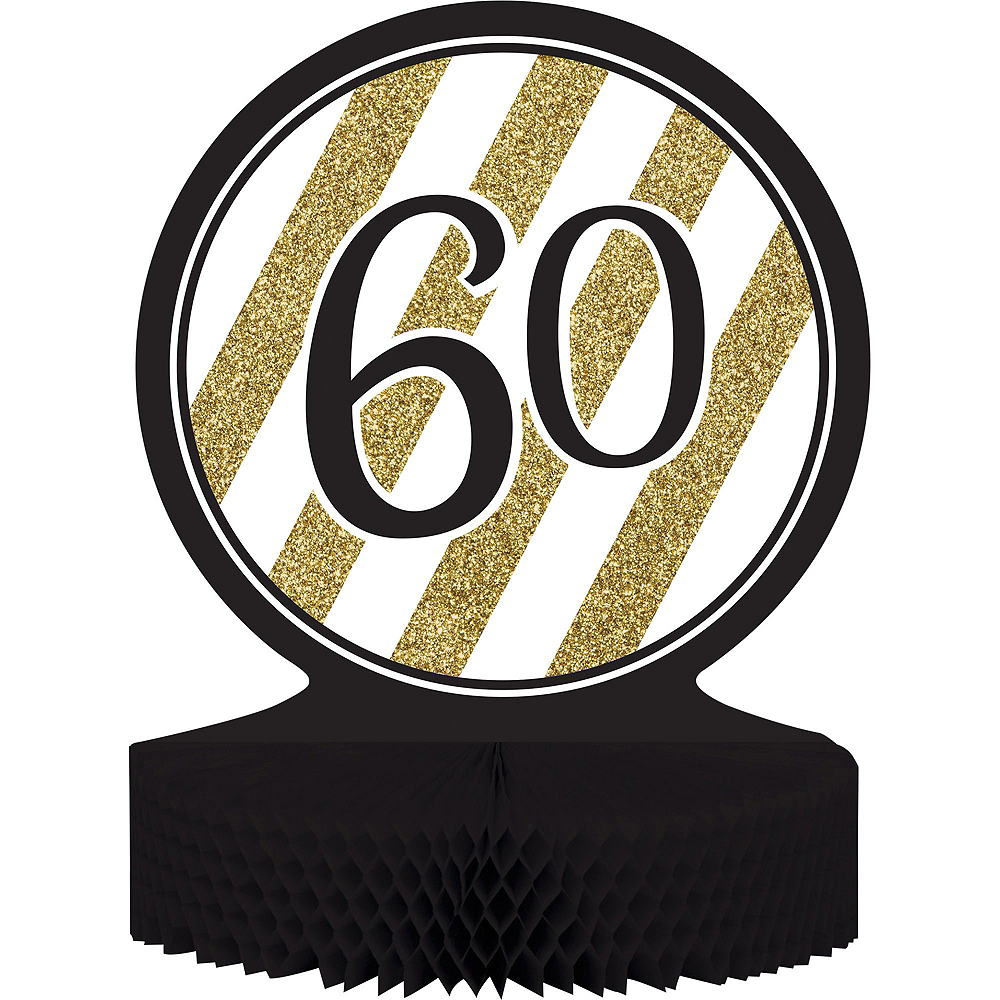 White & Gold Striped 60th Birthday Party Kit for 16 Guests Image #8