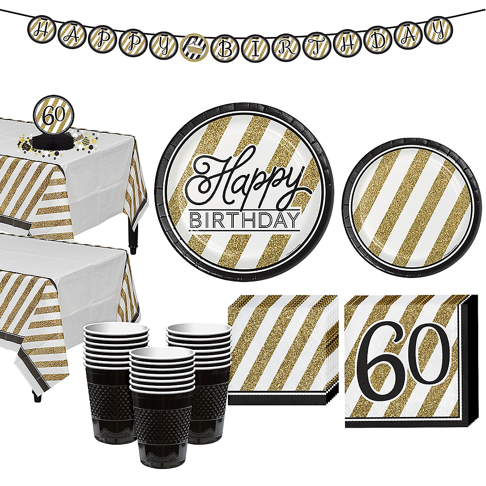 White & Gold Striped 60th Birthday Party Kit for 32 Guests Image #1
