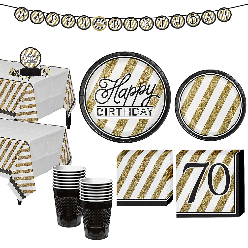White & Gold Striped 70th Birthday Party Kit for 16 Guests Image #1