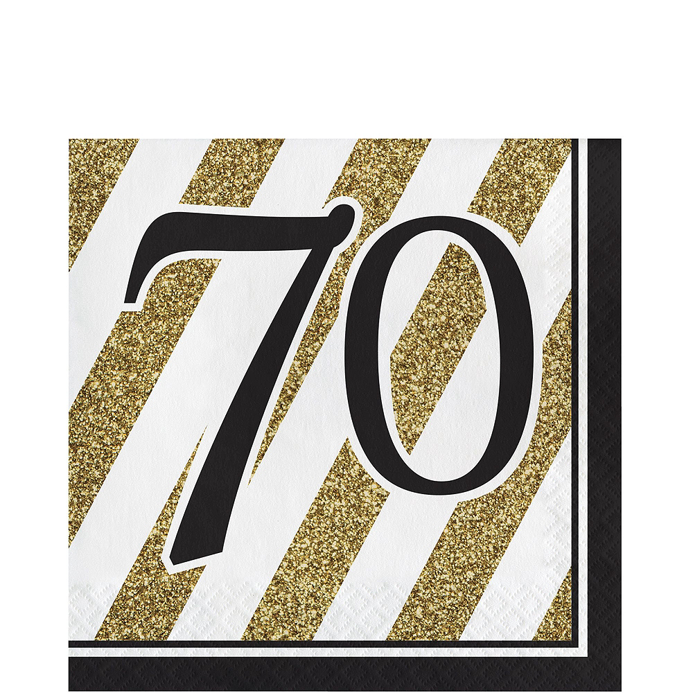 White & Gold Striped 70th Birthday Party Kit for 16 Guests Image #5
