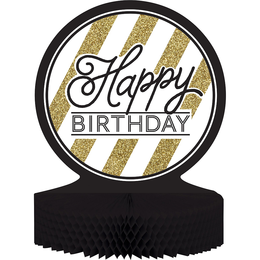 White & Gold Striped 70th Birthday Party Kit for 16 Guests Image #8