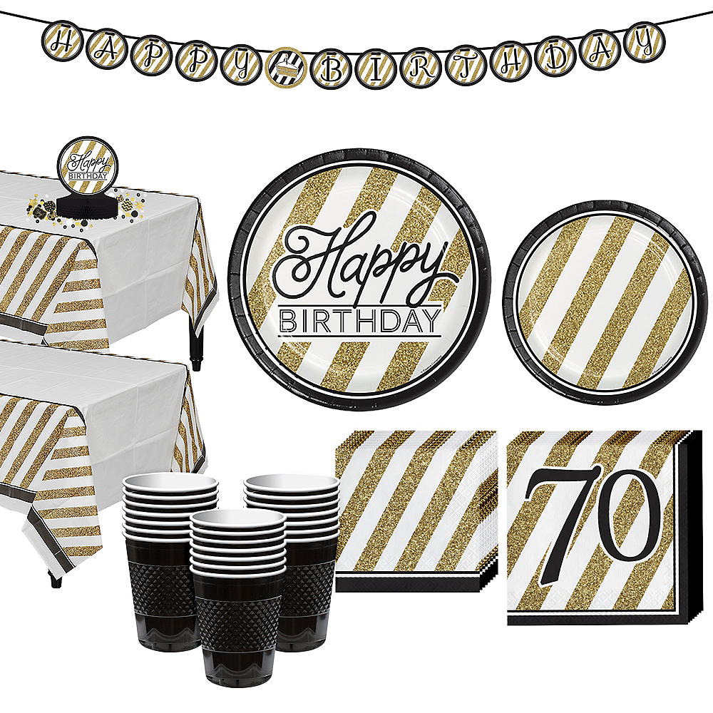 White & Gold Striped 70th Birthday Party Kit for 32 Guests Image #1