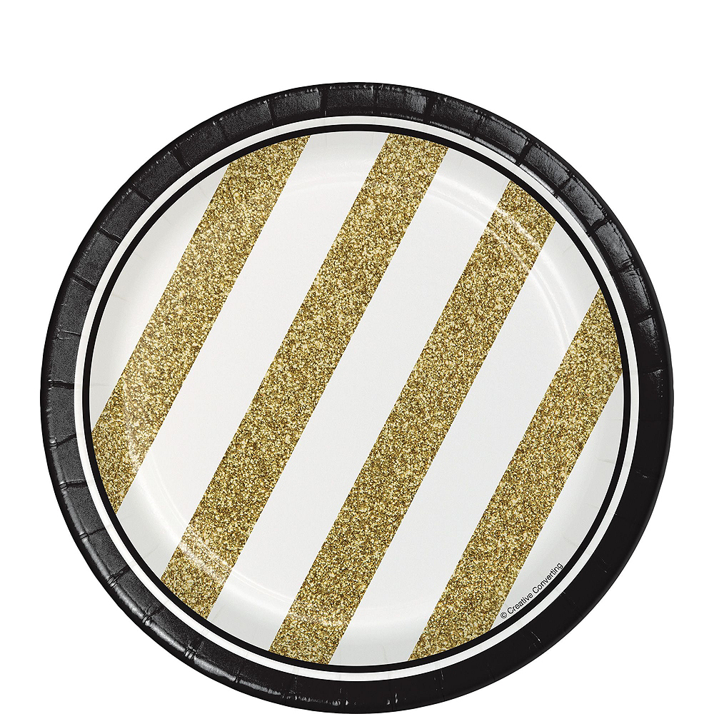 White & Gold Striped 70th Birthday Party Kit for 32 Guests Image #2