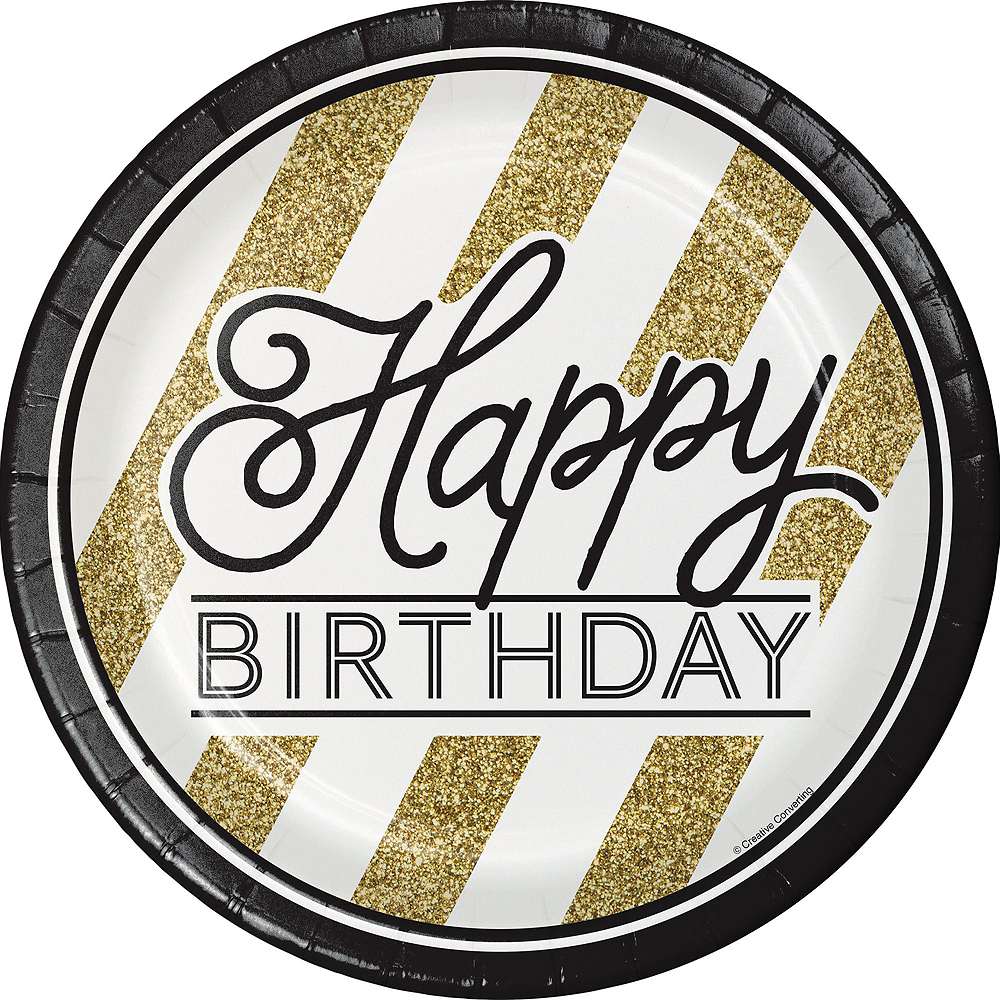 White & Gold Striped 70th Birthday Party Kit for 32 Guests Image #3