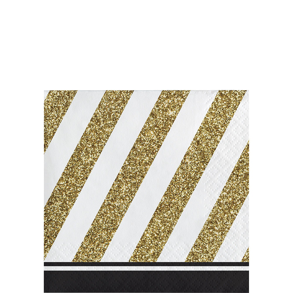 White & Gold Striped 70th Birthday Party Kit for 32 Guests Image #4