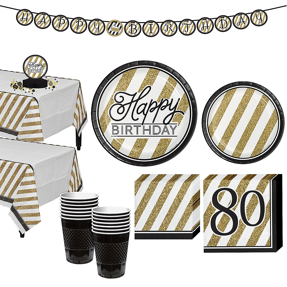 White & Gold Striped 80th Birthday Party Kit for 16 Guests Image #1