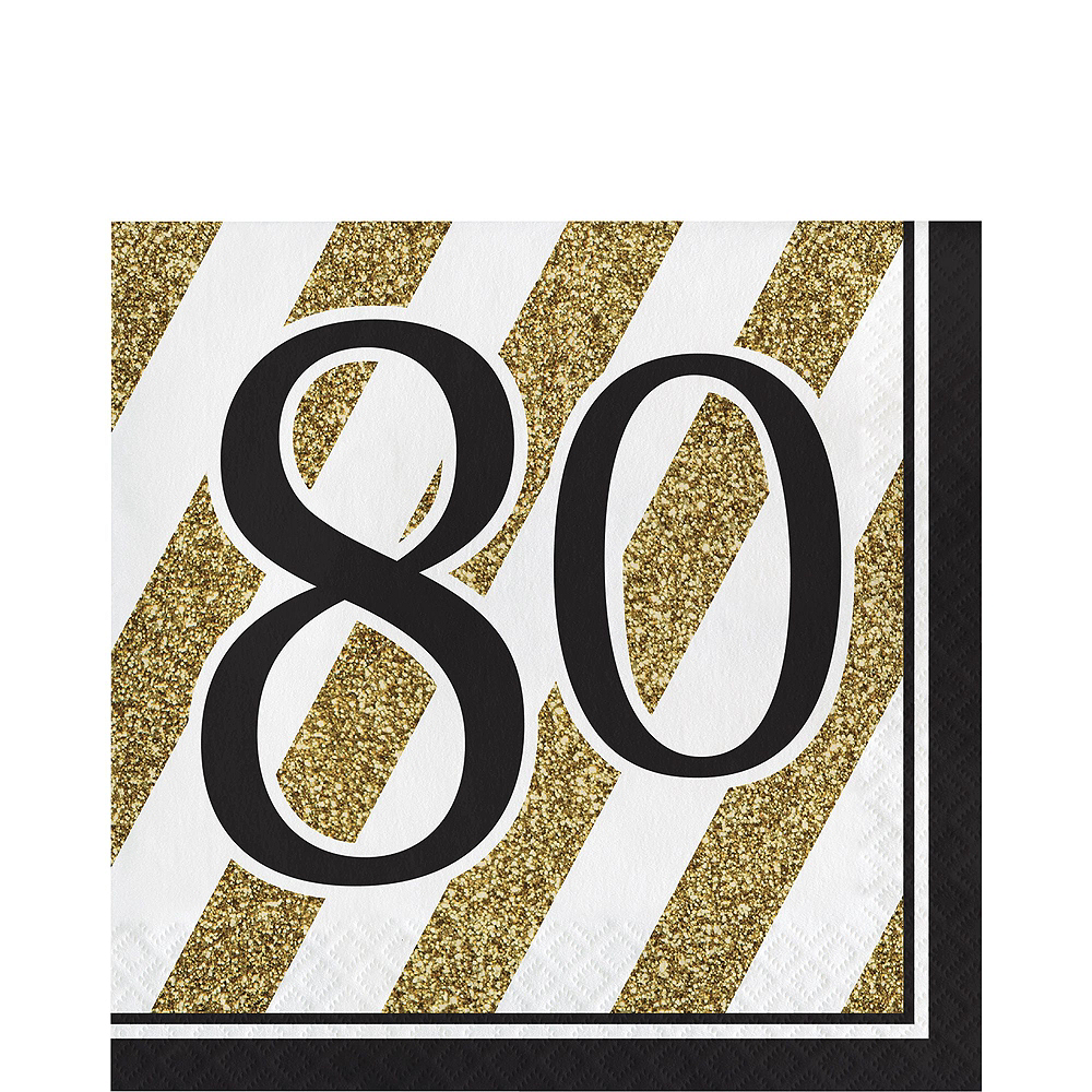 White & Gold Striped 80th Birthday Party Kit for 16 Guests Image #5