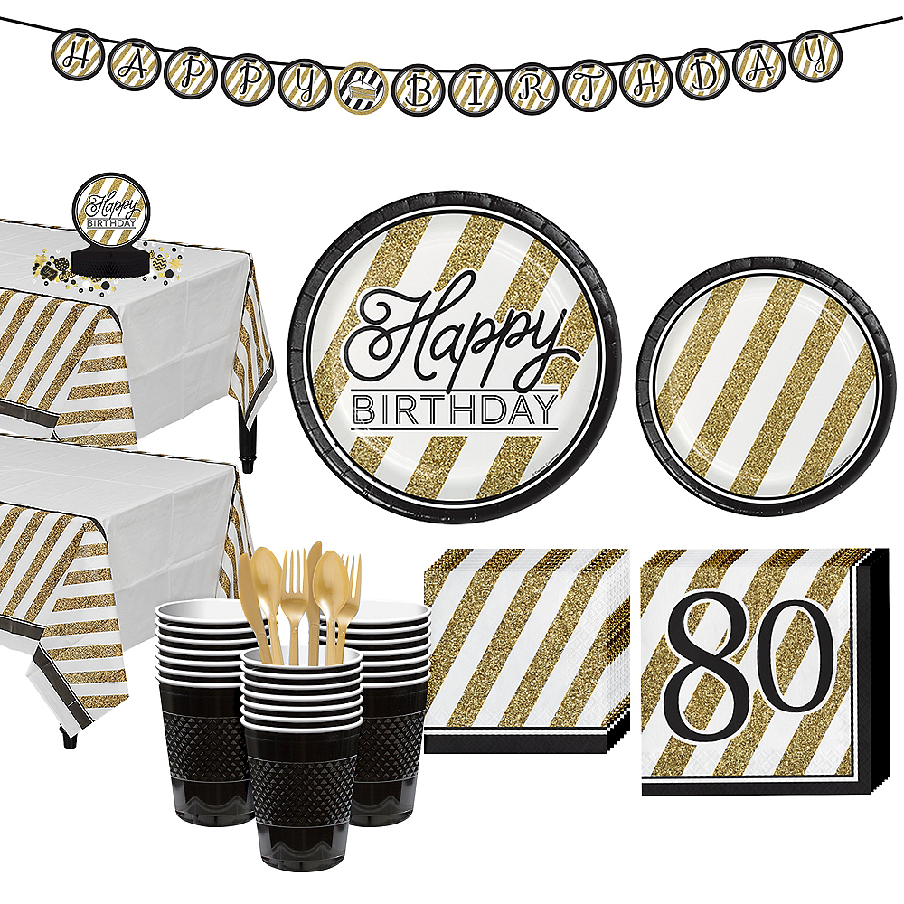 White & Gold Striped 80th Birthday Party Kit for 32 Guests Image #1