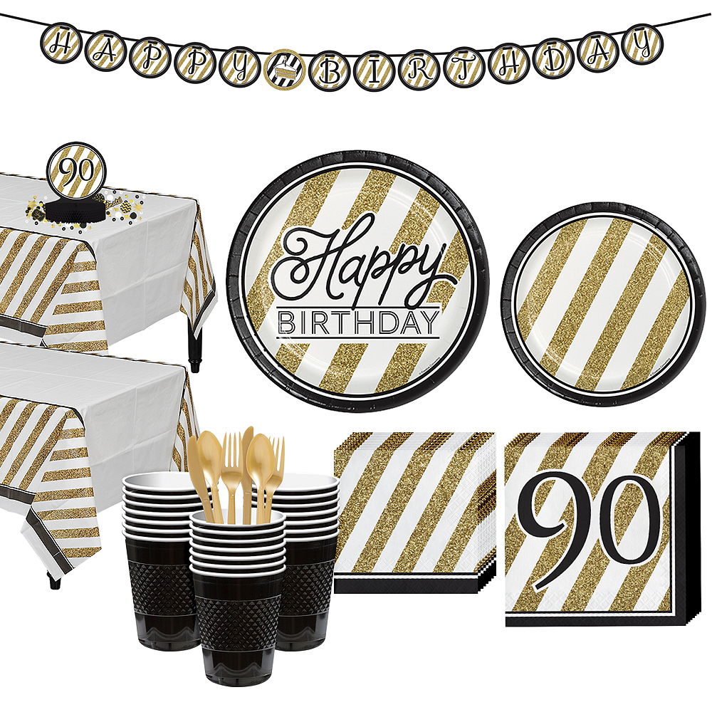 White & Gold Striped 90th Birthday Party Kit for 32 Guests Image #1