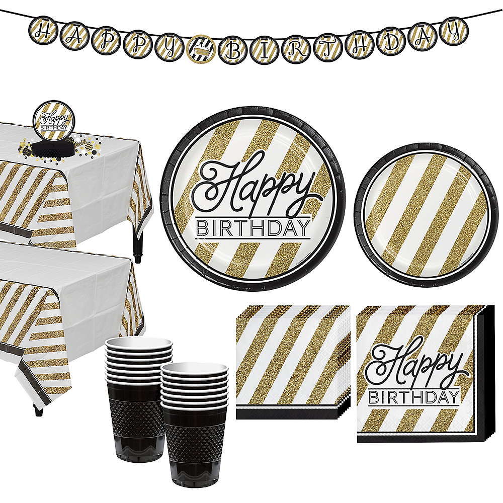 White & Gold Striped Birthday Party Kit for 16 Guests Image #1