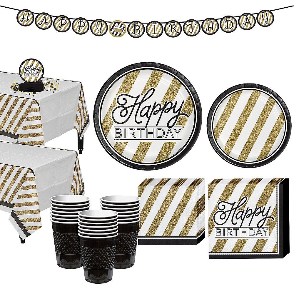 White & Gold Striped Birthday Party Kit for 32 Guests Image #1