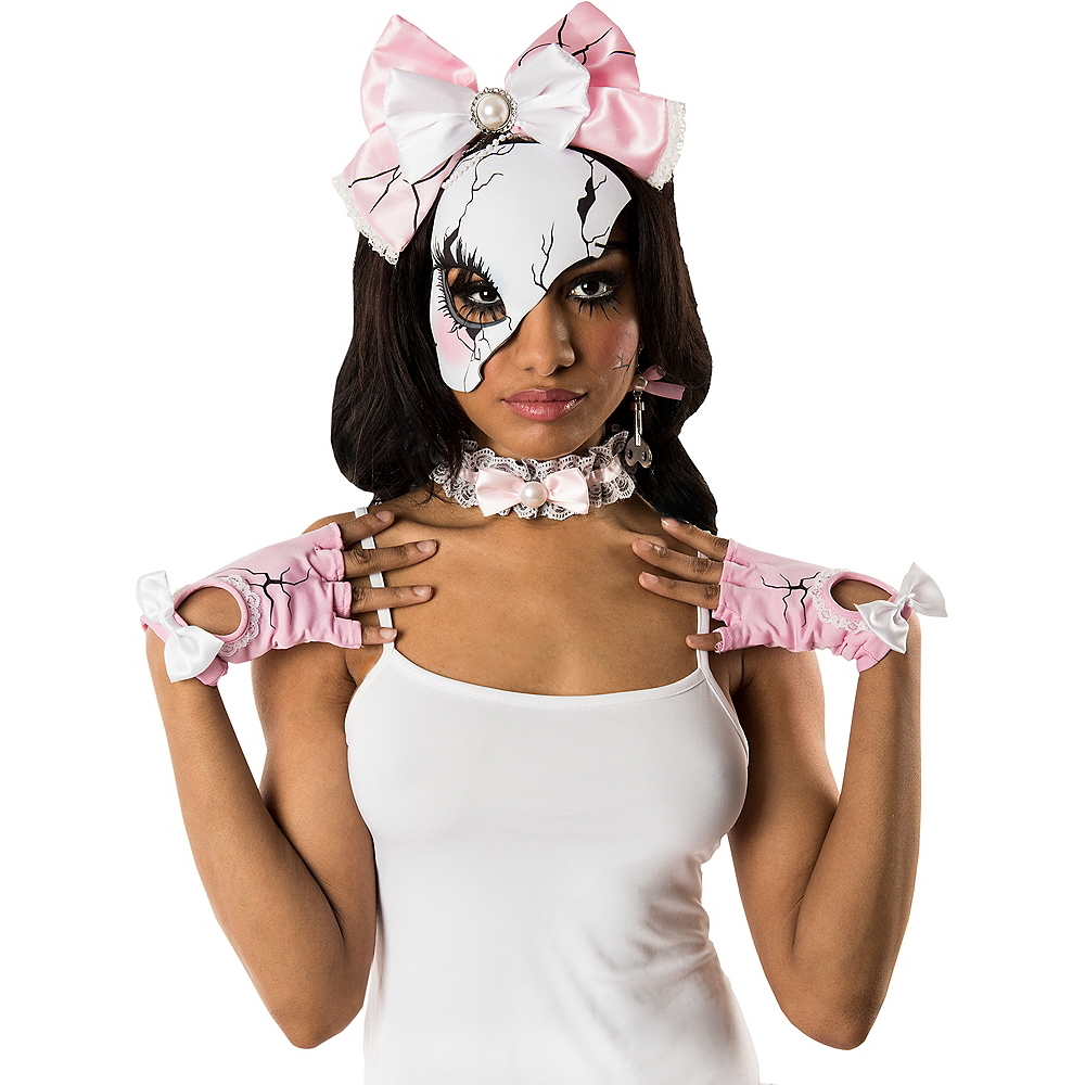 Womens Pink Broken Doll Costume Accessory Kit Image #1