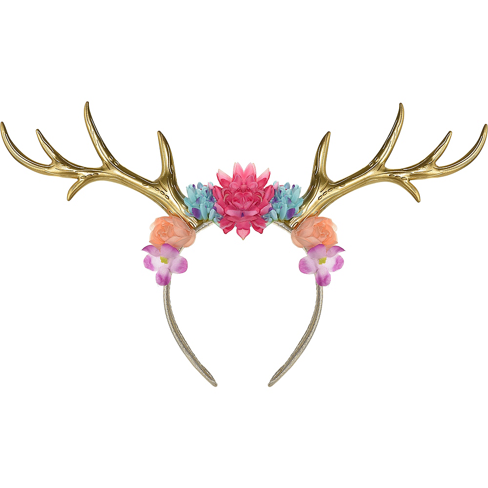Floral Gold Deer Antler Headband 11 1 2in x 4 3 4in  ce21367134e
