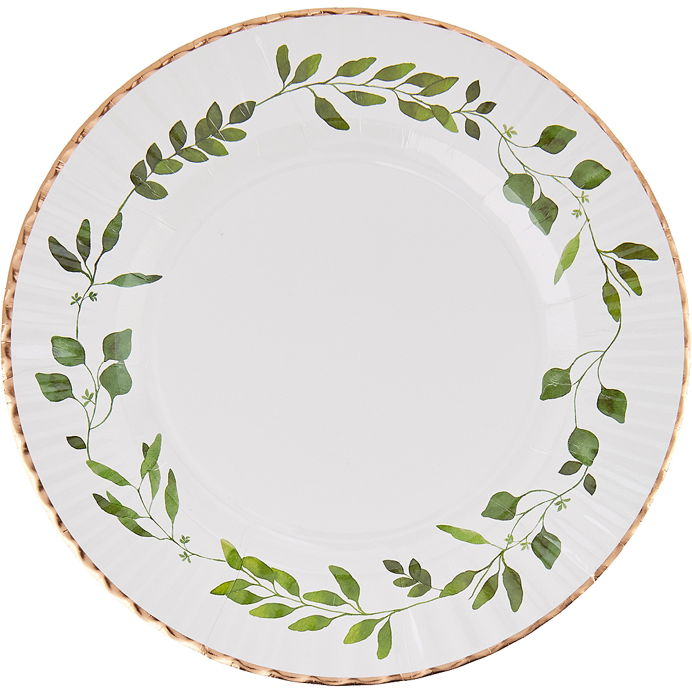 Rose Gold Trimmed Green Leaf Dinner Plates 8ct Image #1