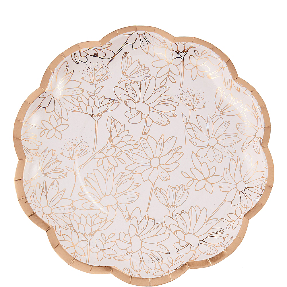 Rose Gold Floral Scalloped Lunch Plates 8ct Image #1