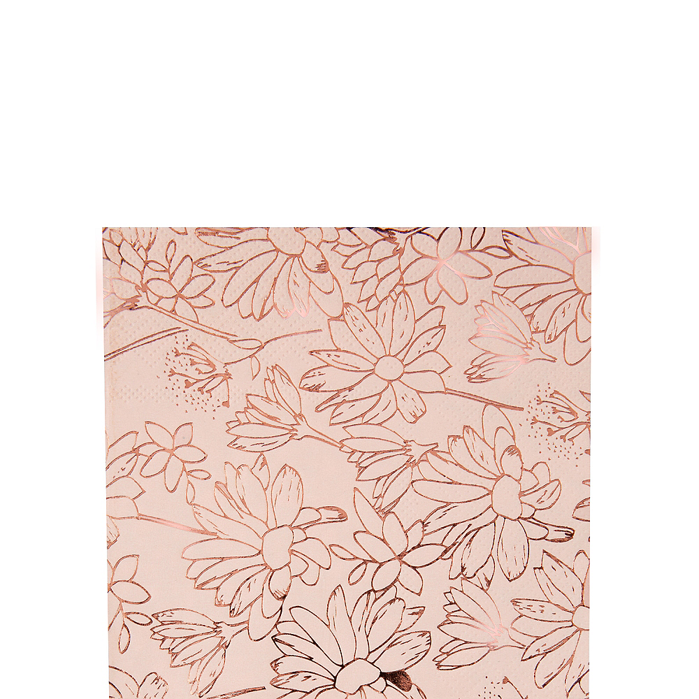 Rose Gold Floral Beverage Napkins 16ct Image #1