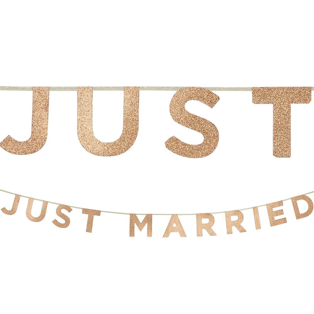 Glitter Rose Gold Just Married Letter Banner Image #1