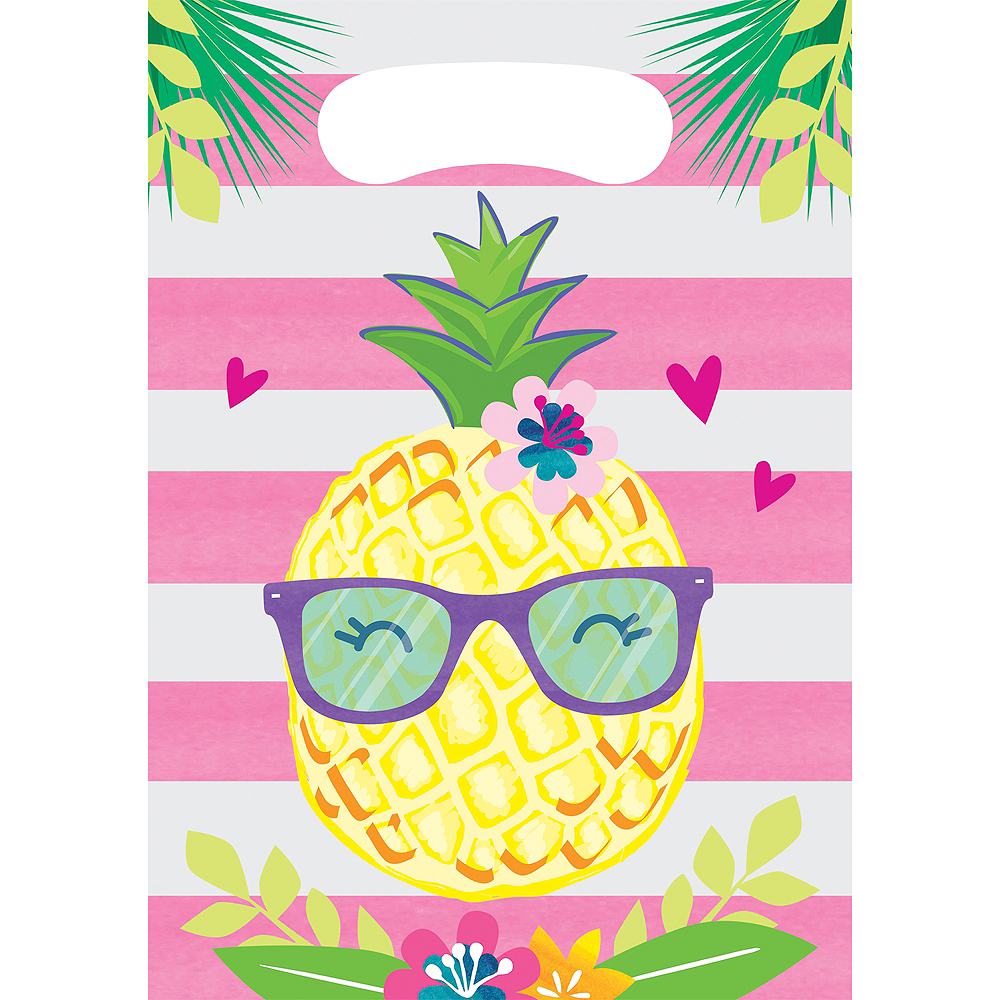 Striped Tropical Favor Bags 8ct Image #1