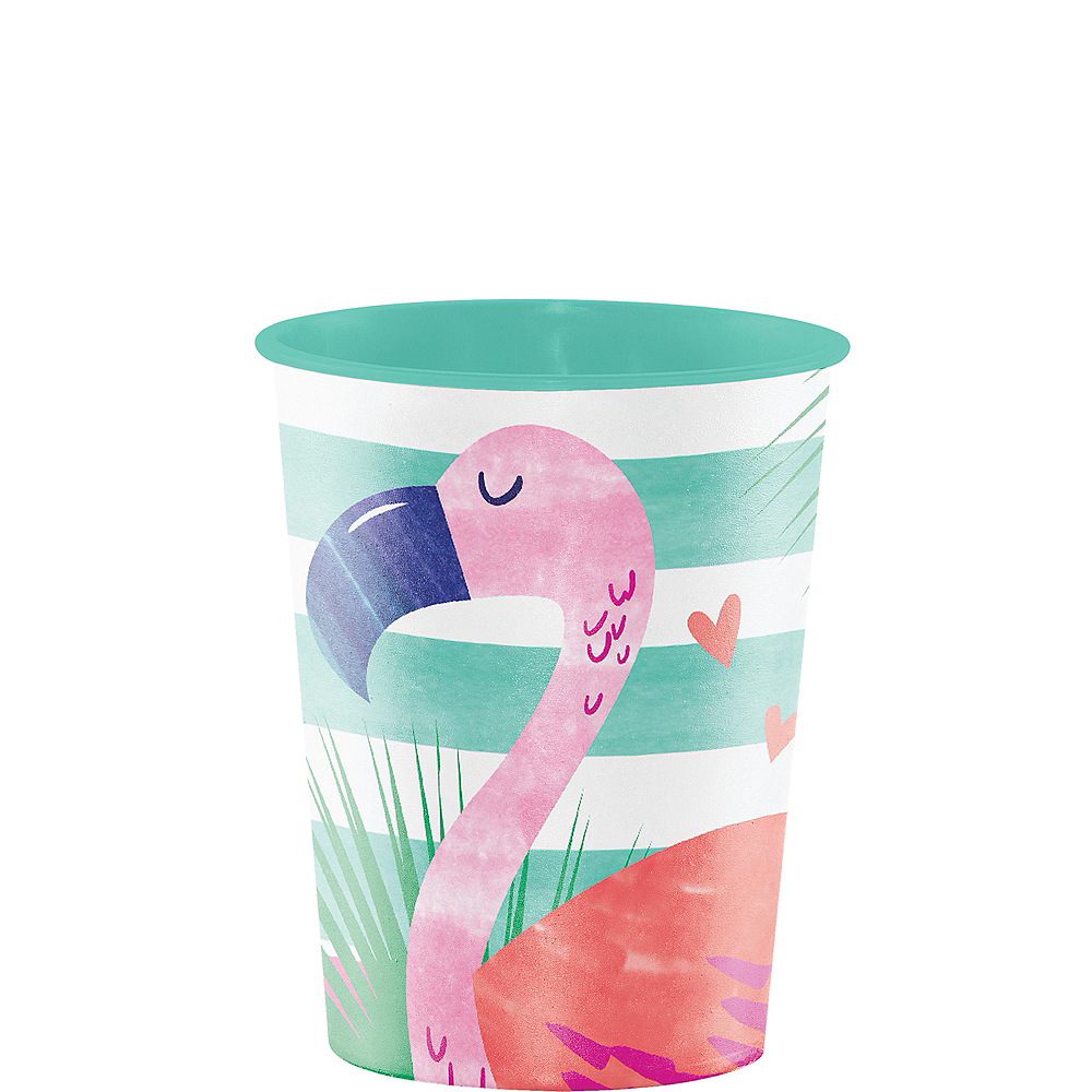Striped Tropical Flamingo Favor Cup Image #1
