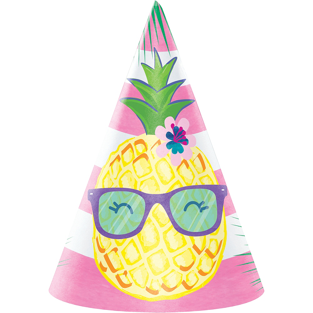 Striped Tropical Party Hats 8ct Image #1