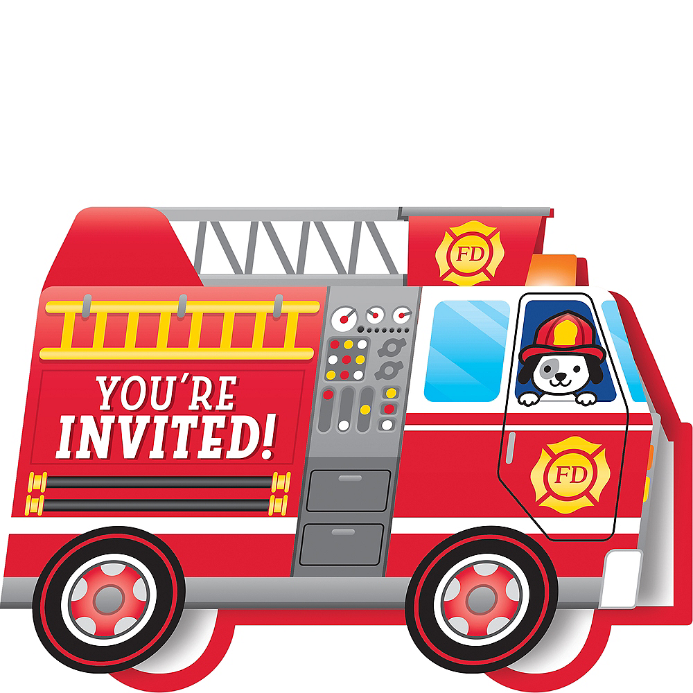 Nav Item for Fire Truck Invitations 8ct Image #1