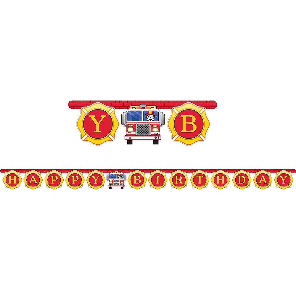 Fire Truck Birthday Banner 7 1/8ft x 5 7/8in | Party City