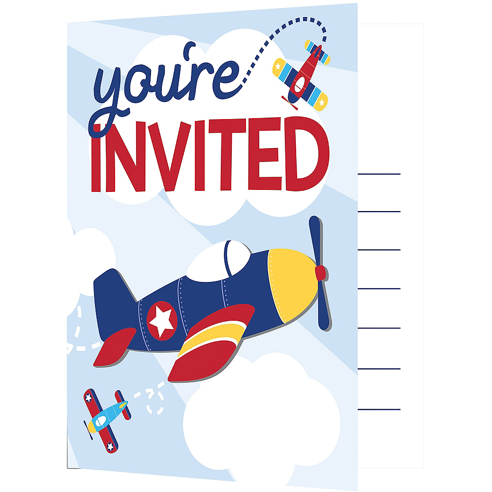 Airplane Invitations 8ct Image 1