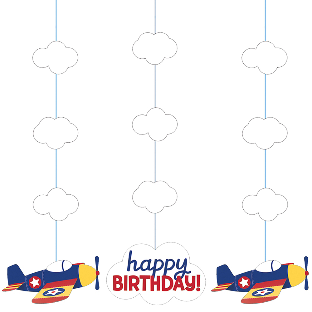 Airplane Birthday String Decorations 3ct Image #1