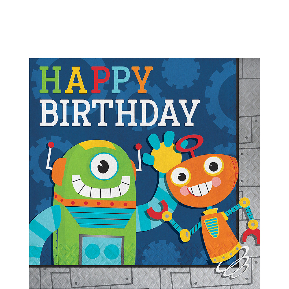 Robot Birthday Lunch Napkins 16ct Image #1