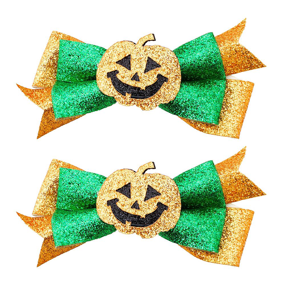 Glitter Pumpkin Bow Hair Clips 2ct Image #1