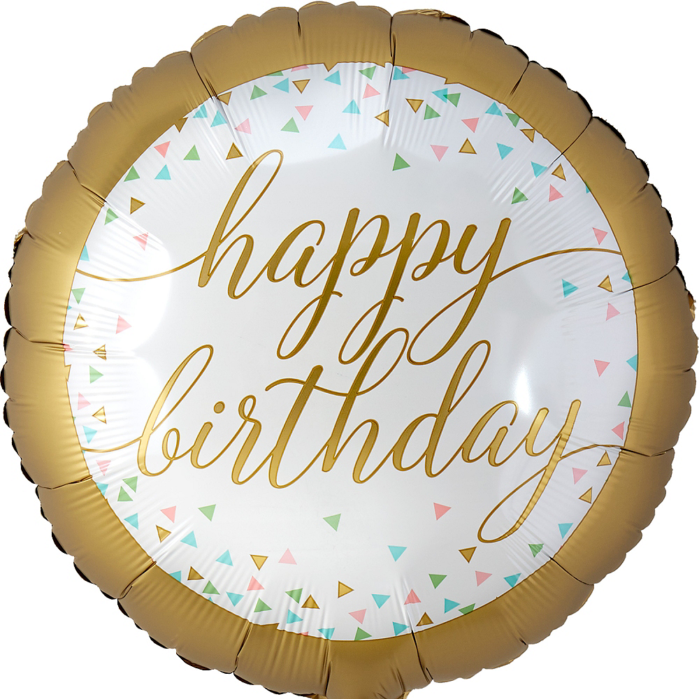 Gold Confetti Happy Birthday Balloon