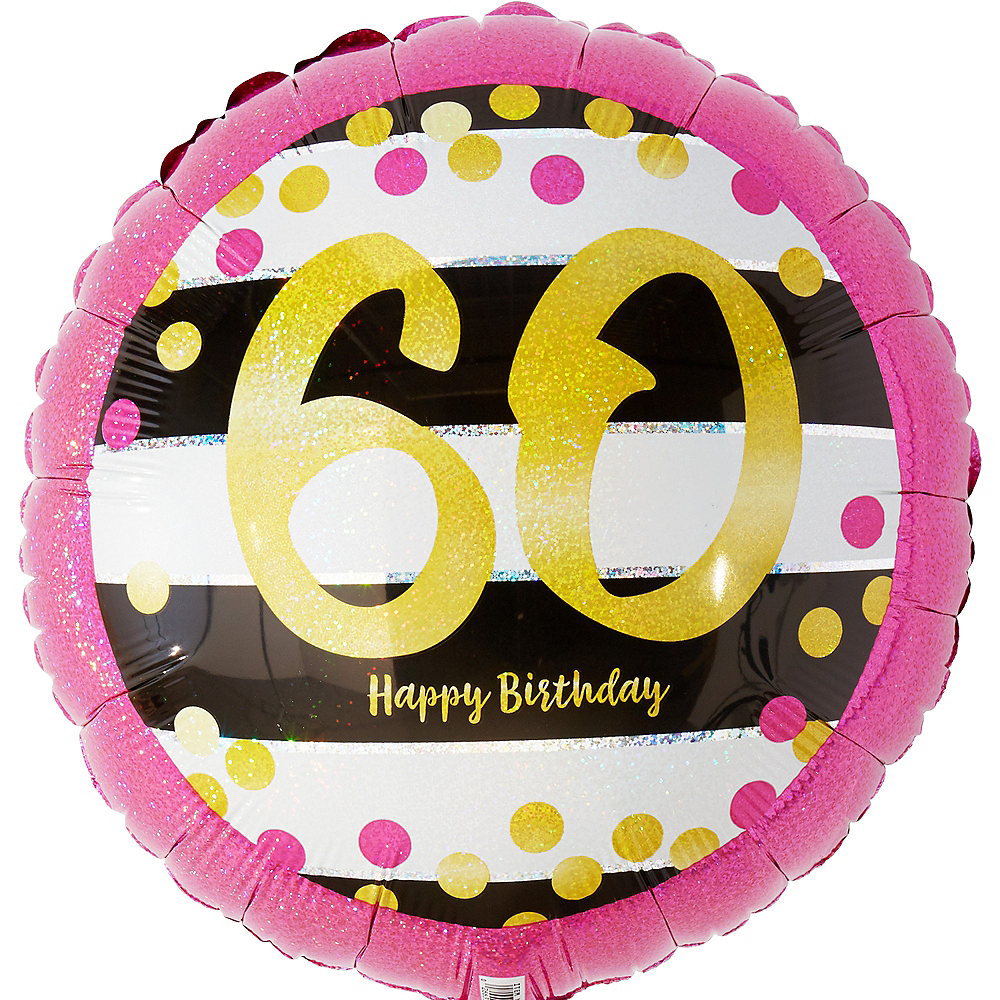 Prismatic Pink & Gold 60th Birthday Balloon 17 1/2in Image #1