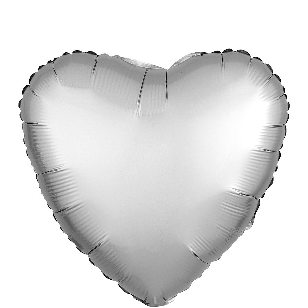 17in Silver Satin Heart Balloon Image #1