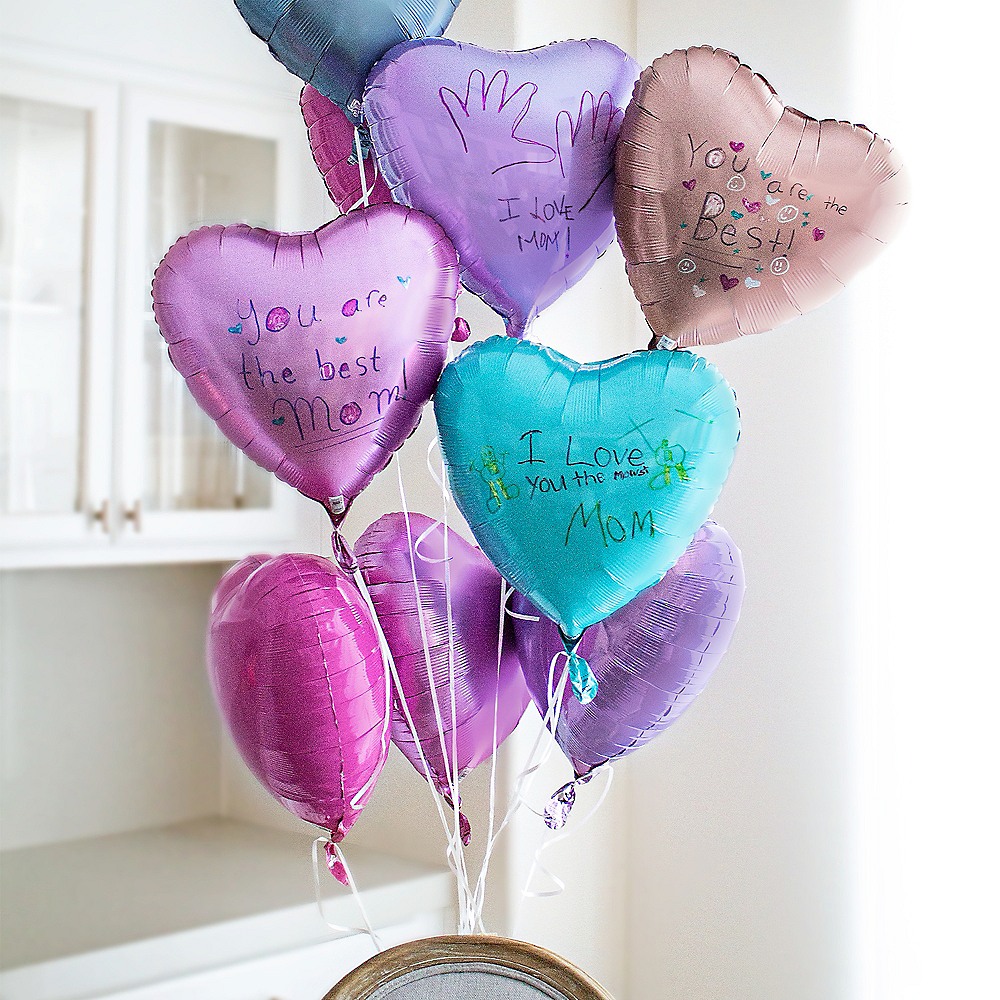 17in Silver Satin Heart Balloon Image #2