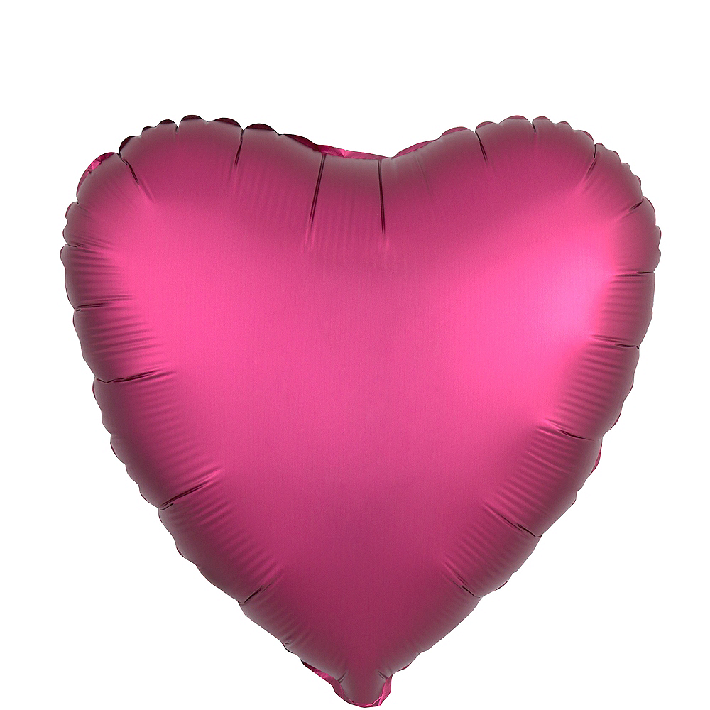 17in Bright Pink Satin Heart Balloon Image #1