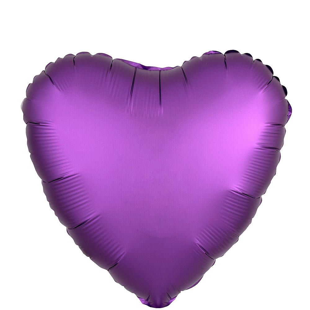 17in Purple Satin Heart Balloon Image #1