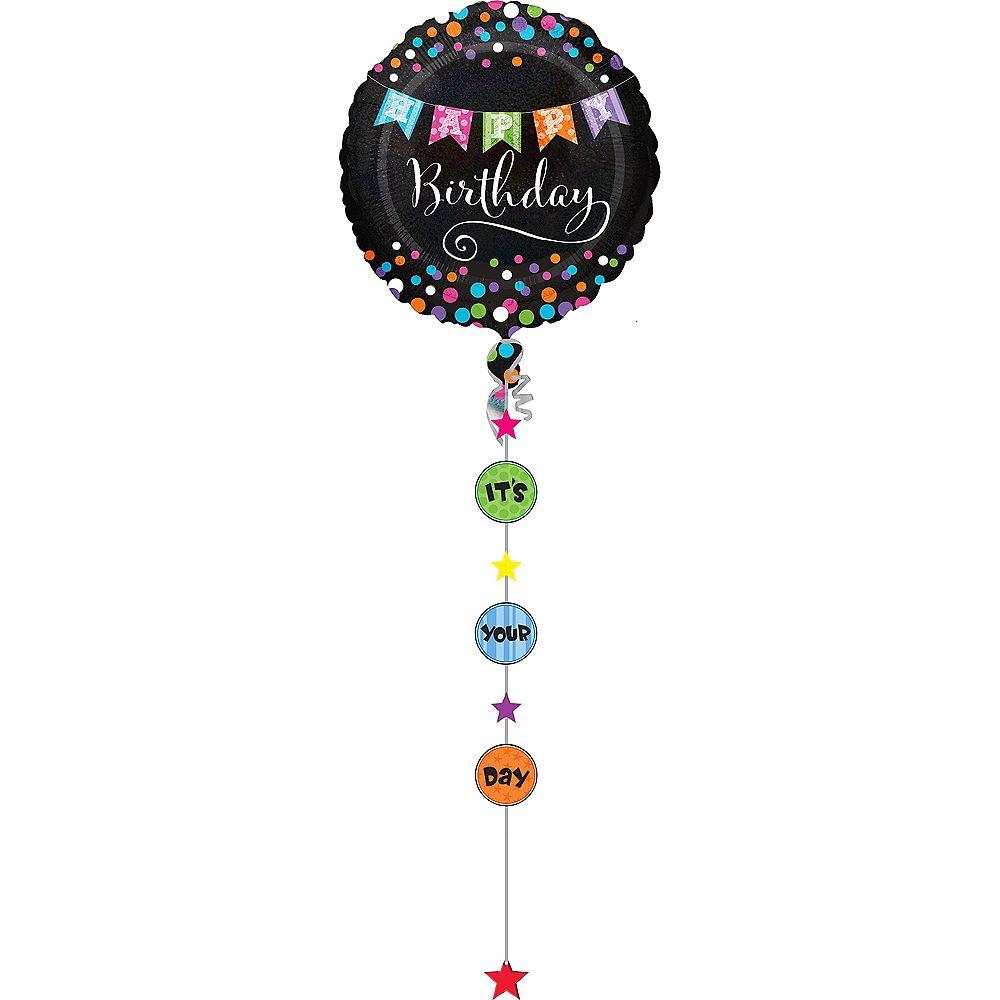 Giant Happy Birthday Balloon with Balloon Weight Tail Image #1